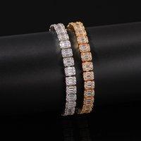 Mens 18kt oro riempito ghered baguette diamanti braccialetto 8,6 mm Bling Bling Braccialetti con chiusura a chiave Braccialetti zirconi cubici gioielli hip hop