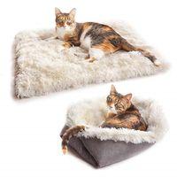 Coussin de peluche doux pour chats de chat à double usage pour chats petits chiens pliable chat maison chenil hiver chaleur chat chat lit bébé produit