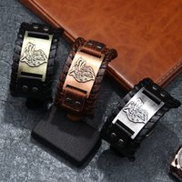 Punk Wide Band Belts Weave Leather Charm Bracelets Alloy Wolf Head Totem Pirate Carving Watch Buckle Bangle Cuff Bracelet for Men