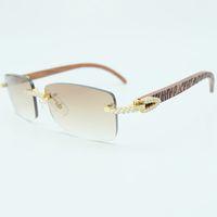 Rhinestone Square Sunglasses Luxury Wood Buffalo Horn 3mm Diamond Retro Sun Glasses Fashion Mens Rimless Sunglass Shade Eyewear