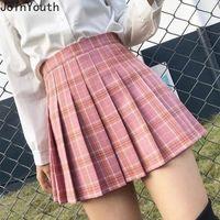 Joinyouth doce saia plissada meninas mini saias bonitos mulheres uniformes escolares senhoras harajuku estilo preppy xadrez kawaii faldas 210309