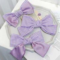 Purple Big Bow Gair Gair Gair Gair Hair Clips Butterfly Hairpins Девушка Ювелирные Изделия Аксессуары Для Женщин Лучкота Главная и Назад Барьерки 2997 Q2