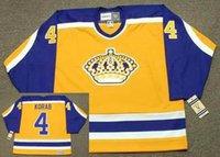 Los Angeles Kings 1982 CCM Vintage Away # 4 Jerry Korab # 8 Drew Doughty # 9 Bernie Nicholls # 00 Cualquier nombre portero Corte Hockey Jersey