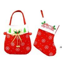 US Stock Christmas Tree Decorations Hang Candy Socks Xmas Strumpor för heminredning Julklapp Väska för barn