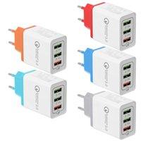 3 portas de Muti portas de parede Chargers QC3.0 Carga Rápida Três Adaptadores USB UE Plug Rápido Estação de Carregamento Potência Bloco de Base para iPhone Samsung