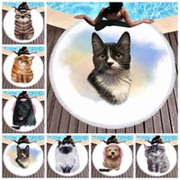 Towel Anime Pet Cat Print Round Microfiber Beach With Tassels Bohemia Bikini Cover Up Picnic Mat Tapestry Camping Blanket