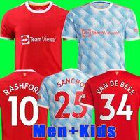 Manchester 2021 2022 Fußballtrikots UNITED VEREINIGTE CAVANI UTD VAN DE BEEK B. FERNANDES RASHFORD Fußball trikot 21 22 Mann + Kinder-Kit HUMANRACE Vierter Fußballtrikot