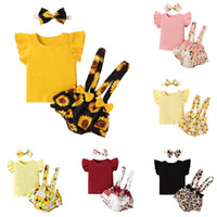 kids Clothing Sets girls sunflower outfits infant Flying sleeve Tops+Flower Floral print Bow strap shorts+Headband 3pcs sets summer fashion baby Clothes Z3415