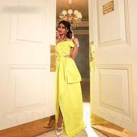 Elegante un hombro amarillo Vestidos largos de noche Abendkleider 2021 Dubai Kaftan Vestidos de baile Vestito da Festa di Nozze