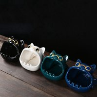 Ashtrays for Cigarettes Fancy Ceramic Dog Windproof Large Ashtray Decorative Indoor outdoor Ash Tray for Home Office Decoration KKA8357