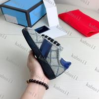 Üst 2021 En Kaliteli Çizgili Yeni Tasarımcı Ayakkabı ACE Nakış Erkek Kız Gerçek Deri Tasarımcı Rahat