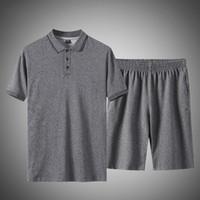 2021 NOUVEAU Plus Taille 5XL Casual Hommes Polo Chemise Deux Morceaux Set Summer Hommes Suivi de Coton Sportswear T-shirt + Short Track Costume APTB