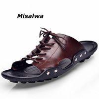 Misaulwa New Mens Flip Flops Натуральная Кожа Летние Пляжные Тапочки Мужской Повседневная Плоская Обувь Мода Дышащие Мужчины Сандалии V6QR #
