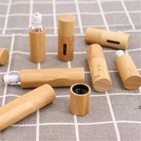 Rollo de bambú portátil en la botella de ventana abierta de vidrio creativo Botellas de aceite esencial Mini embotellado vacío Cosmético FWF9233