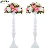 Mercijzyasang Metal Mumluklar Çiçekler Vazo / Standı Şamdan Beyaz Mumluk Kat Vazo Düğün / Masa Centerpieces 03 210722