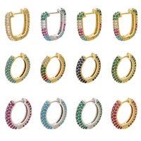 Designer Earrings Luxury Jewelry 1piece CZ crystal small hoop earring for women gold silver color rainbow Round rectangle VE222 VE251
