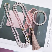 Pendant Necklaces 8mm Rose Quartz White Crazy Agate Gold Beads Knotted 108 Japamala Necklace Meditation Yoga Blessing Jewelry Tibetan Rosary