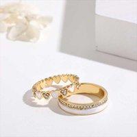 Wedding Rings Juorest Sweet Heart Couple Women Men Cute Crystal Friendship Finger 2pcs set Resin Korea Multi Layer Jewelry