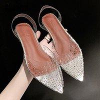Новые PVC прозрачные женские насосы сандалии кристалл середины каблуки насосы горный хрусталь заостренный носок женские подружки невесты свадьба обувь S162 обувь продается S W6JT #