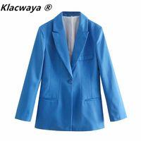 Women's Suits & Blazers Klacwaya Women 2021 Fashion Single Button Blazer With Shoulder Pads Lapel Vintage Long Sleeve Pockets Slim Female