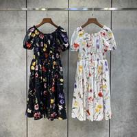 Milan المدرج اللباس 2021 مائل الرقبة قصيرة الأكمام طباعة المرأة مصمم اللباس العلامة التجارية نفس نمط اللباس 0303-31