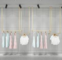 Hooks Rails Golden Ropa Tienda de exhibición Piso Doble Perching Tienda de mujeres Estante de gabinete alto
