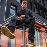 2021FW Heron Bottoming Hemd Mann und Frauen Preston Lose Mode Hoodie Ins High Street Hip Hop Sweatshirt Schwarz Weiß Orange S-XL