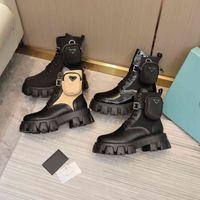 Diseñadores de mujeres Botas Rois Botas de tobillo y botas de nylon Botas de combate con inspiración militar Botas de nylon adheridas al tobillo con bolsas Tamaño 42