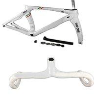 T1000 Campeón Blanco RB1k El marco de carbono de una bicicleta de carretera y el manillar de la carretera de carbono brillante
