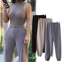 Mujeres Solid Color Sweetpants y Jogger Pantalones negros Femme Sweat Pants Streetwear High Cintura Harem Pantalones Pantalones Pantalones Pantalón 201104