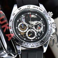 2021 Мужские мужчины Полный хронограф Мужские Часы Дата Пэт-Двигатель Движение ДвиженияРезина Band Solo Watch Motre Luxe de Часы Наручные часы