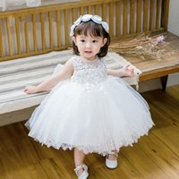 Girl's Dresses Fashion Sequin Floral Flower Girl Dress For Wedding Princess White Tulle Baby Girls Baptism Christening 1st Birthday Gown