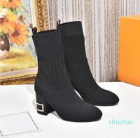 Women Designer Silhouette Ankle Boot Black Stretch High Heel Sock Boots and Flat Socks Sneaker Winter Womens Shoes size 35-42