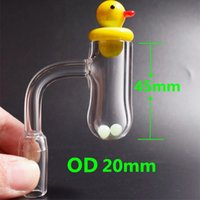 Round Bottom banger 20mm OD Quartz Banger Nail with terp pearls duck carb cap For Glass Bongs Dab Rigs