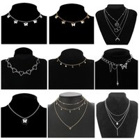 Pendant Necklaces Vintage Multilayer Butterfly Necklace For Women Butterflies Moon Star Charm Choker Bohemian Beach Jewelry Gift
