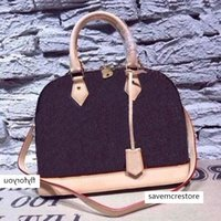 Bolsa das mulheres alma bb shell top handle bonito damier ebene crossbody saco de couro de patente alta qualidade e moda