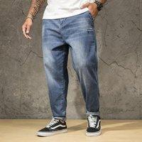 Men's Jeans Men Blue Big Large Plus Size 46 48 150KG Mens Jean Elastic High Waist Man Loose Straight Denim Pants Trousers 7XL