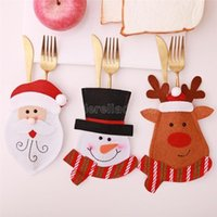 New Cheapest Christmas Tableware Set Christmas Cartoon Cutlery Set Santa Claus Knife Fork Holder Party Supplies Desktop Decoration FS3106 CO11