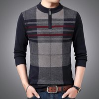 Men's Sweaters Brand Winter Sweater Men Casual Zipper Pullover Male Warm Wool Pull Homme Plaid Knitted Jersey Vintage Clothes Y416