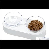 15 grados Ajustable Pet Cat Bowl Plato Un Puerto Dual Oblico Gatito Bebida Fuente Dog Dispensador de Agua Alimentador Utensilios W40EI EFNZK