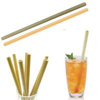 Bamboo réutilisable Paille de boisson 100% naturelle Boissons écologiques Straws Nettoyant Brush pour les outils d'alcool à la maison