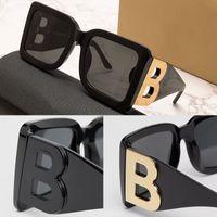 Womens 디자이너 선글라스 B4312 블랙 스퀘어 플레이트 프레임 큰 더블 B 문자 다리 간단한 패션 스타일 최고의 판매 UV400 안경 4312