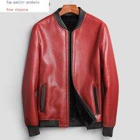 Jaqueta de couro de pele de carneiro genuíno Homens Natural Pele de lãs de lãs de inverno jaqueta de shearling homens Bomber 71E88B