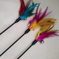 PET gato colorido juguete gato con accesorios de gato de campana colorido pavo de pluma artefacto interactivo chase de juguete de palo conveniente y práctico