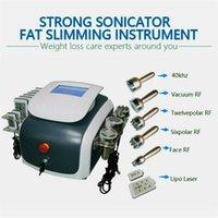 Snabb leverans PRO NYHET 7 I 1 Ultraljudsfettsugning Kavitation Slimming Radiofrekvens Vakuum RF 18 dynor Lipo laser Slim Body Shaping