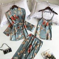 Ropa de dormir de las mujeres 2021 LisacmvVnel 3 PCS Impresión de mujeres Robe conjuntos Spaghetti Strap + Cardigan + Juego de pantalón Sexy Fashion Femenina Pijamas de alta calidad