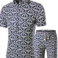 Erkekler Gömlek Şort Yaz Rahat Baskılı Hawaii Homme Erkek Baskı Elbise Suit Setleri Artı Boyutu