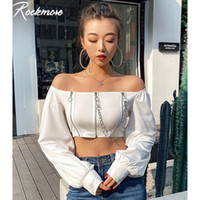 Rockmore Double Zipper Corrente Tshirt Mulheres Preto Preto Colheita Top Long Buff Manga Quadrado Backless Camiseta Casual T-shirt 210302