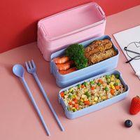 Louça de jantar Sets Portátil 3 Camada Bento Box Forno Microondas Almoço De Armazenamento De Cozinha Com Colher e Forquilha 900ml Talheres