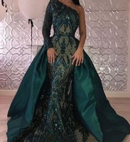 Luxury Dark Green Evening Dresses 2019 One Shoulder Zuhair Murad Dresses Mermaid Sequined Prom Gown With Detachable Train Custom